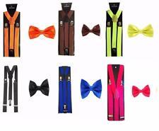 Men's Fancy Costume Matching Suspenders Braces & Pre-Tied Bow Tie Combo Sets