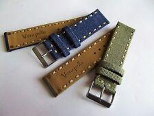 cinturini cordura pelle doppia cucitura 18 20 22 mm vari colori watch band strap