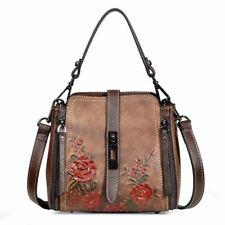Women Genuine Cow Leather Shoulder Bag Handbag Purse Handbag Flower Embossed XS