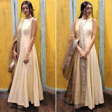 Ethnic Plain Taffeta Silk Cream Color Gowns Gorgeous Net Dupatta Beautiful Dress