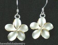 18mm Silver Hawaiian 14k Plumeria FH Wire Earrings