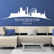 Grande Manchester City horizonte silueta Dormitorio Pegatina Pared Arte