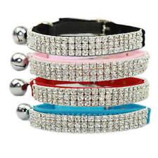 BLING Cat Safety Collar ELEGANT Diamanté Crystal Suede~Black-Blue-Pink-Red~30cm
