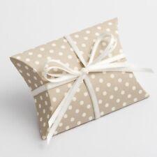 Pillow Shaped Grey Polka Dot Design Favour Box Wedding Christening Baby Shower