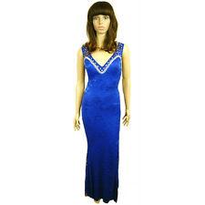 New Gorgeous Ladies Womens Blue Diamond Studs Metallic Floral Long Evening Dress