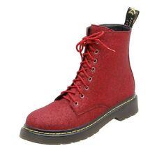 Women's Punk Biker Ankle Boots Flat Heel Combat Solid Boots Lace Up Shoes 34-42
