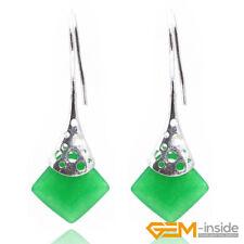 15mm Square Gemstone White Tibetan Silver Hook Dangle Earrings Fashion Jewelry
