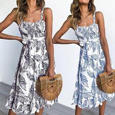 Sommerkleid Kleid Kurz Gefaltet Ärmellos Frauen Damen Sommer Böhmisch Urlaub