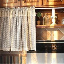 Village Cotton linen block lace Home Kitchen blinds Cafe Curtain gray arrow