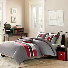 BEAUTIFUL MODERN CASUAL GREY RED GREY WHITE BLACK STRIPE SPORTY COMFORTER SET