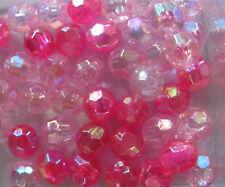 150 6mm Redondo facetado Plástico Acrílico AB Transparente granos elegir Color