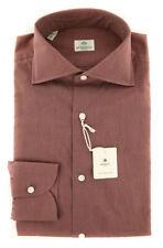 New $450 Luigi Borrelli Brown Shirt - Extra Slim - (EV061247STR1)