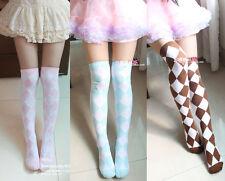 Lolita Kawaii Diamond Check Over-Knee Stocking Thigh-High Socks Academy 6colors