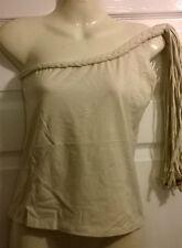 Ladies buttermilk one shoulder tassle top NAUGHTY designer Size  10 14 NEW