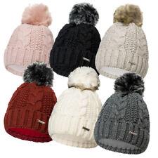 Damen Mütze Kunstfell Bommel Beanie Strickmütze Wintermütze Fleece Warm  25