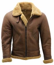 B3 Bomber Brown Biker Vintage Genuine Sheep Skin Aviator Leather Jacket For Men