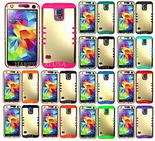Light GOLD Armor Shock Proof Hybrid Soft Hard Cover Case for Samsung LG Phone