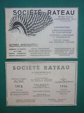 1948-52 2 PUBS SOCIETE RATEAU LA COURNEUVE TURBO REACTEURS TURBO COMPRESSEURS AD