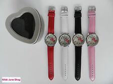 Niñas Hello Kitty Rhinestone reloj de corazón Caja (nuevo) elección de 4 Colores