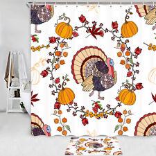 Turkey and pumpkin Shower Curtain Bathroom Decor Fabric & 12hook 71 In