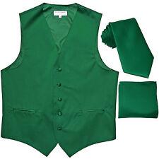 New Men's emerald green formal vest Tuxedo Waistcoat_necktie & hankie set prom