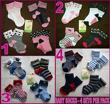 BABY Anti-Slip Socks 4 Pk Sox - GRIP SOLE Sz 6-12m or 12-24m Cute Boy & Girl NEW