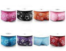 "Stars 1.5"" Printed Grosgrain Ribbon 25 yards for Crafts decor Choose Colors"
