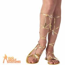 Goddess Gold Sandals Egyptian Roman Toga Ladies Fancy Dress Shoe Accessory