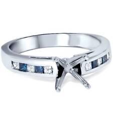 1/2ct Blue & White Diamond Princess Cut Cathedral Semi Mount Engagement Ring