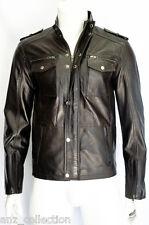 Glenn Mens Gents Brown Designer Real Sheep Nappa Soft Lambskin Leather Jacket