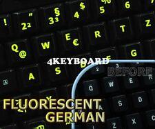 Glowing fluorescent German keyboard stickers