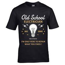 Divertente Novità Scherzosa Vecchia Scuola Electrician T-Shirt Uomo Maglia