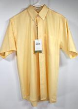 Cutter & Buck Short Sleeve Button Down Yellow Dress Shirt Sizes S, M, L & XL