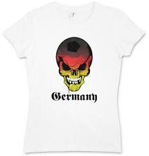 GERMANY GERMAN FOOTBALL SKULL FLAG DAMEN T-SHIRT Schädel Fußball Deutschland