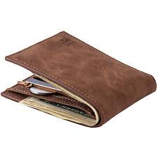 Luxury Leather Men's Bifold Purse Card Pocket Men Zipper Money Clip Short Wallet