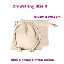 Calico Bag Bulk Drawstring Enviro Calico Bags  Calico Natural  S9  H10 x W9.5cm