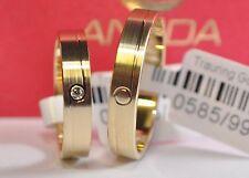 1 Paar Trauringe Hochzeitsringe Gold 585 - Gelbgold - Mit Zirkonia - B: 4,0mm