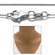 925 Sterling Silver Rhodium Mirror Box Chain Necklace 0.8mm 015