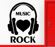 Wall Stickers Vinyl Decal I Love Rock Music Headphones Rock`n`Roll Decor (z2358)