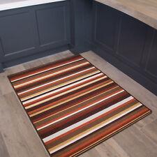Terracotta Striped Non Slip Kitchen Mat Modern Orange Washable Nylon Door Mats