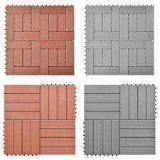 Carreaux de platelage WPC marron / gris 11 pcs Panneaux de Platelage de jardin