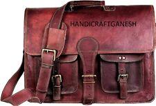 Handicraft Ganesha Men Messenger Bag Vintage Quality Leather Shoulder Laptop Bag