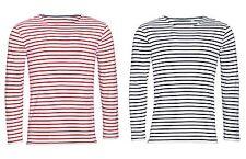 Streifen Shirt Herren Fitted Cut Men´s Long Sleeve Striped T-Shirt Marine