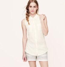 NWT Ann Taylor Loft Ivory Collared Sleeveless Button Cotton Shirttail Shirt L-XL