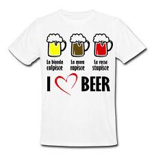 T-shirt uomo Birra bionda mora rossa I love beer, divertente, personalizzabile!