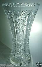 VINTAGE CUT GLASS OR CRYSTAL FLOWER VASE STARBURST PATTERN,ETCHED