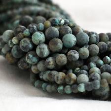 Natural African Turquoise Givré/Matte Gemme Perles Rondes 4 mm 6 mm 8 mm 10 mm