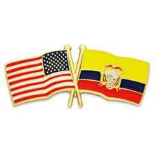 Friendship Flag Enamel Lapel Pin PinMart's Usa and Ecuador Crossed
