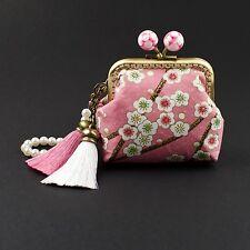 Handmade gold embossed pink Japanese Sakura coin purse wallet makeup #0098