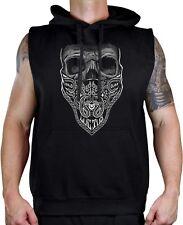 Men's Bandana Skull B/W Black Sleeveless Vest Hoodie Day of the Dead Aztec Mayan